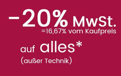 20% MwSt. auf Mode & Wohnen sparen!